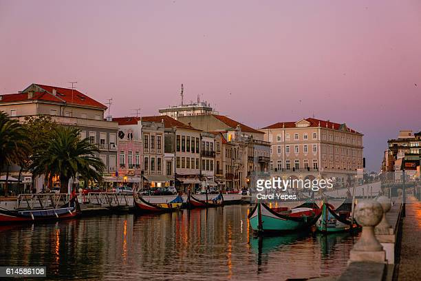 canal and boats in Aveiro, at dusk,Portugal