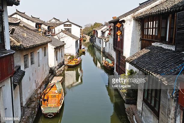 Canal and boats in Zhouzhang water village