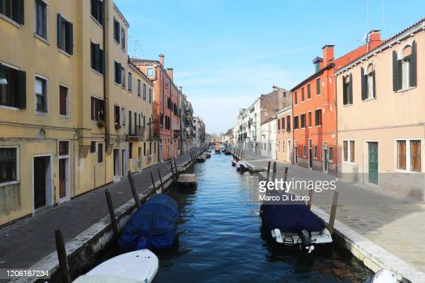 "Canal and the roads next to it are seen completely empty on March 9, 2020 in Venice, Italy. Prime Minister Giuseppe Conte announced a ""national..."