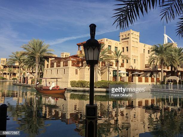 Canal and villas at Madinat Jumeirah resort hotel Dubai United Arab Emirates Middle East