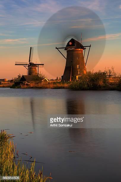 Canal and windmills, Kinderdijk