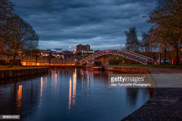 canal at night - stoke on trent stock photos and pictures