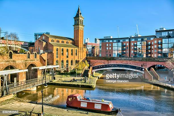 canal basin castlefield manchester - manchester uk stock photos and pictures