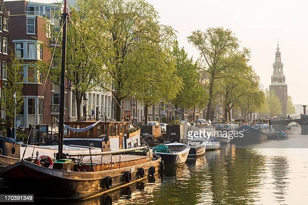 Canal & Boats, Sunrise, Amsterdam, Holland