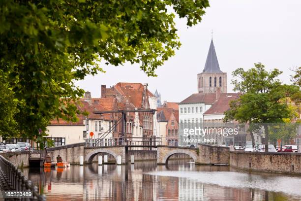 Canal Bridge At Potterierei In Bruges