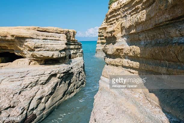Canal D'Amour beach and canyon in Sidari, Corfu, Greece