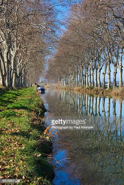 canal du midi at cers in winter - canal du midi photos et images de collection