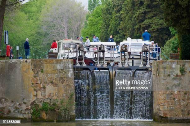 Canal du Midi, lock of Argens, Aude, Languedoc-Roussillon, France
