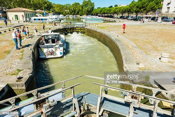 canal du midi with a lock in carcasonne