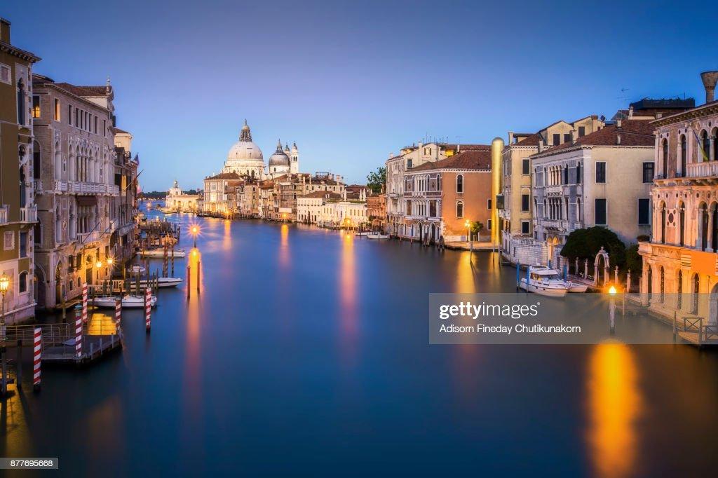 Canal Grande with Basilica di Santa Maria della Salute in the background at sunset, Venice, Italy : Stock Photo