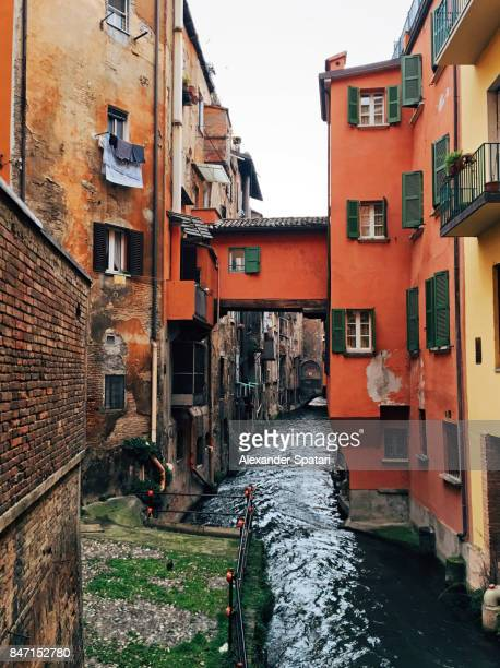 canal in bologna, emilia-romagna, italy - emilia romagna stock photos and pictures