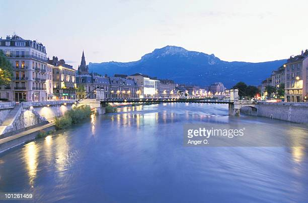 canal in grenoble, isere, france - グルノーブル ストックフォトと画像