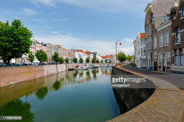 canal in middelburg - middelburg netherlands stock pictures, royalty-free photos & images