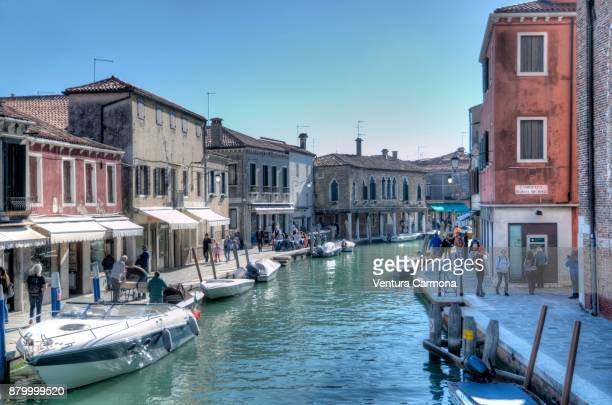 canal in murano - campo santo stefano stock pictures, royalty-free photos & images