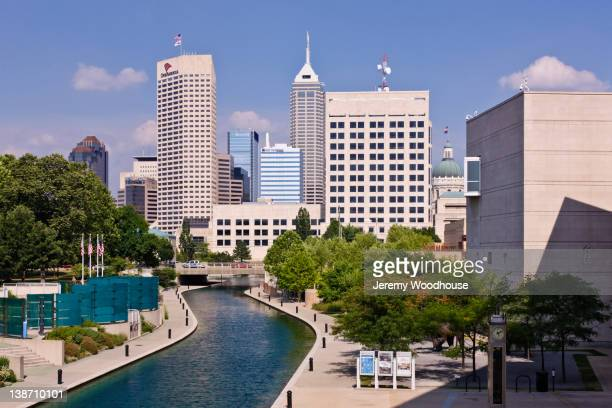 canal in urban city - indianapolis stock pictures, royalty-free photos & images