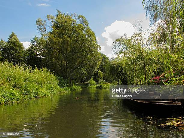 Canal landscape with boat at river bank, Spree Forest, Brandenburg, Germany