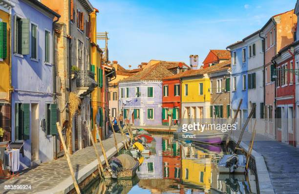 Canal of Colorful Buildings of Burano, Venice, Italy