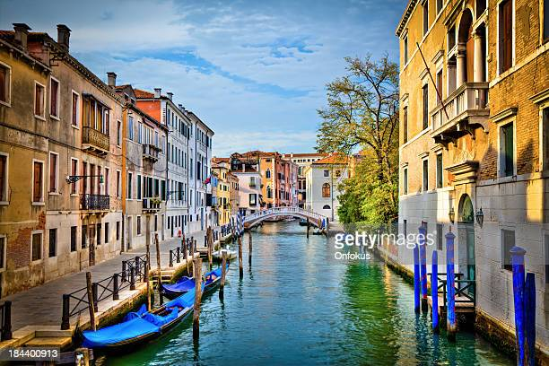 Canal of Venice and Gondolas on a Sunny Day, Italy