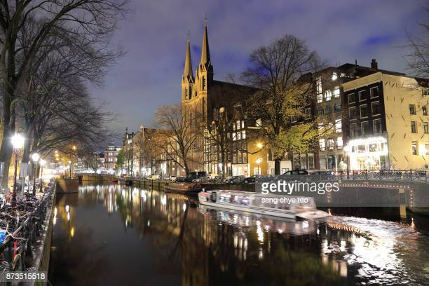 Canal Passing Through City life at night