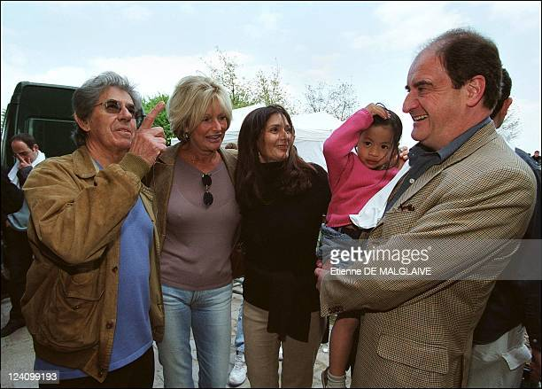 Canal Plus employees assemble to gather support at Andre Citroen park in Paris France On April 20 2002 Philippe Gildas Maryse Gildas Frederique Anna...