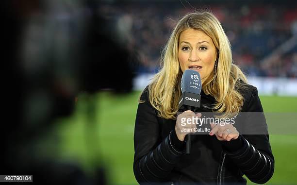 Canal Plus journalist Astrid Bard comments the French Ligue 1 match between Paris SaintGermain FC and OGC Nice at Parc des Princes stadium on...
