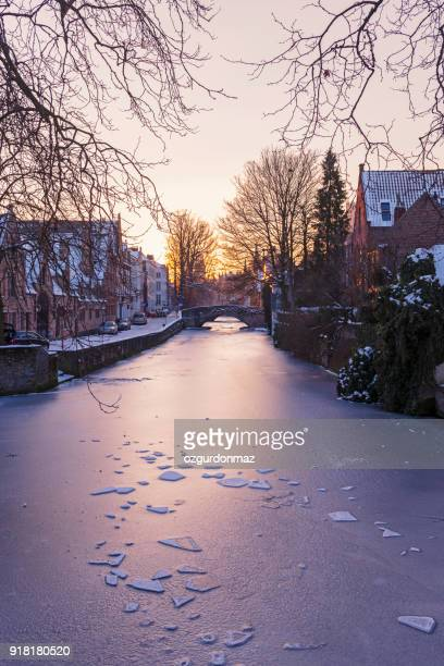 canal scene in bruges, belgium - bruges stock pictures, royalty-free photos & images