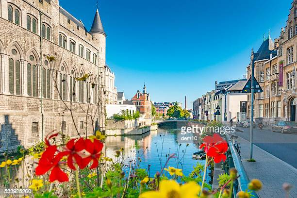 Canal scene in the Belgium city of Ghent
