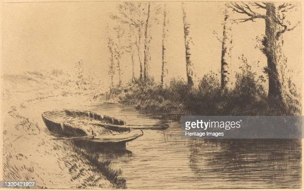 Canal Seen by Morning Light . Artist Alphonse Legros.