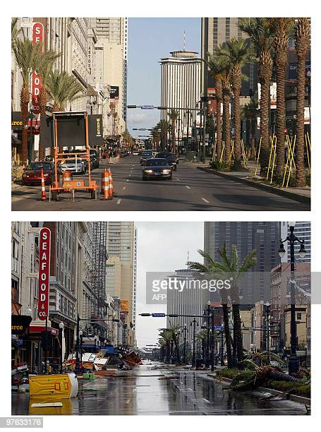 Canal Street in the French Quarter of New Orleans is pictured 13 July 2006 nearly one year after Hurricane Katrina AFP PHOTO/Robyn BECK Debris is...