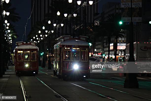 canal street trams - zeesstof stock pictures, royalty-free photos & images