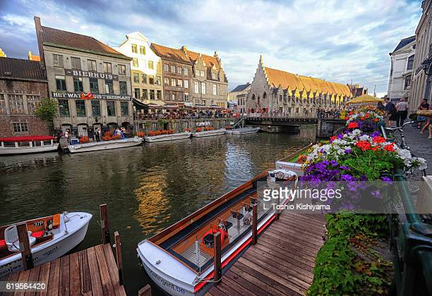 canal through ghent, belgium - belgium stock pictures, royalty-free photos & images