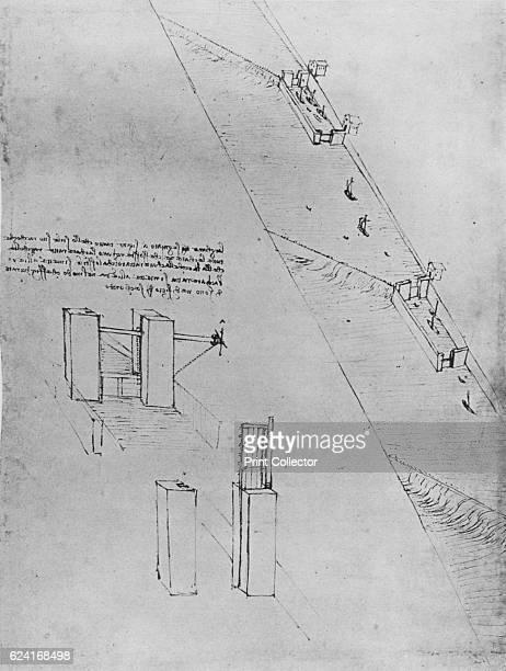 A Canal with Locks and Weirs' c1480 From The Drawings of Leonardo da Vinci [Reynal Hitchcock New York 1945] Artist Leonardo da Vinci