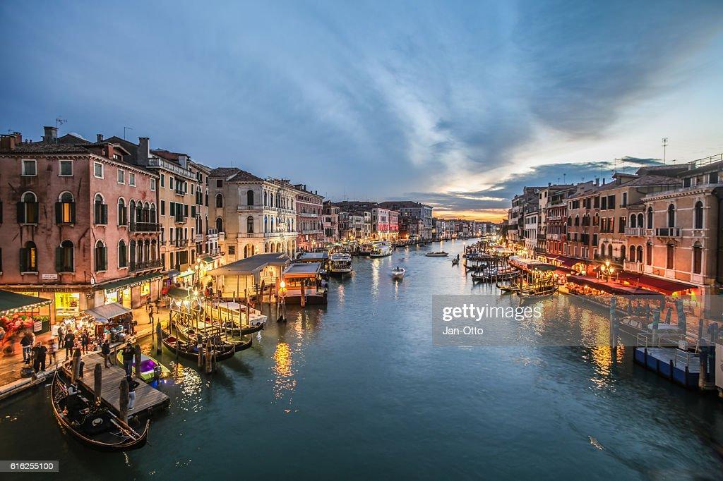 Canale Grande seen from Rialto Bridge in Venice, Italy : Foto de stock