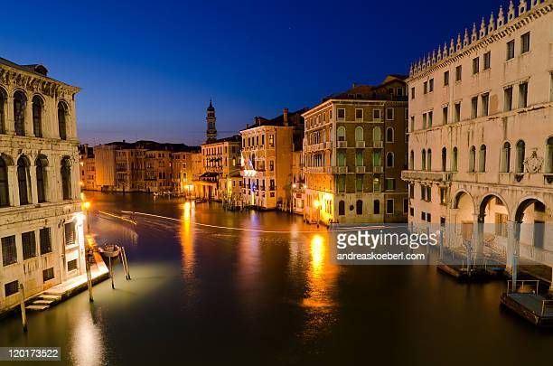 Canale grande, Venice, at night with light trails
