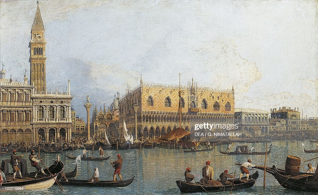 Italy, Florence, Painted view of Ducal Palace in Venice : News Photo