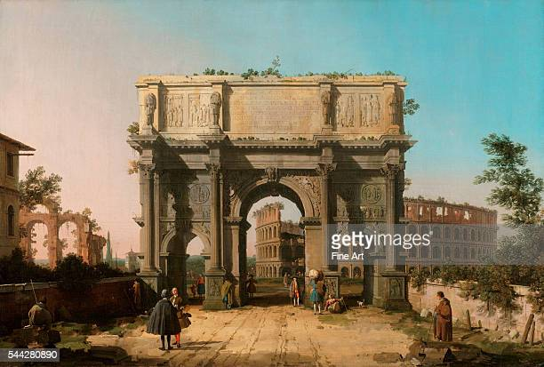 Canaletto View of the Arch of Constantine with the Colosseum 174245 oil on canvas 832 x 1229 cm The J Paul Getty Museum Malibu California