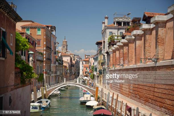 canals on dorsoduro neighbourhood in venice. - hugh threlfall stock pictures, royalty-free photos & images