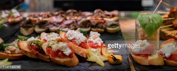 canape appetizers - lunch stock pictures, royalty-free photos & images