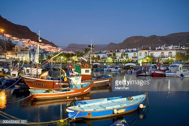 Canary Islands, Gran Canaria,  Puerto De Mogan at night