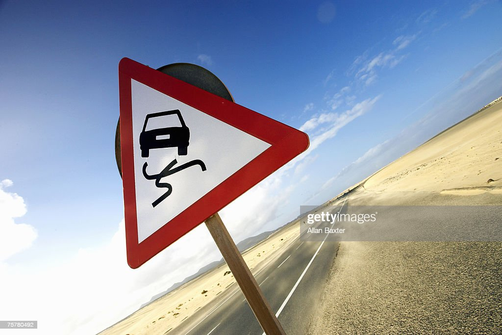 Canary Isles, Furteventura, road sign in desert : Stock Photo