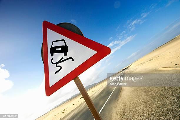 Canary Isles, Furteventura, road sign in desert