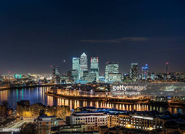 canary wharf and East London at night
