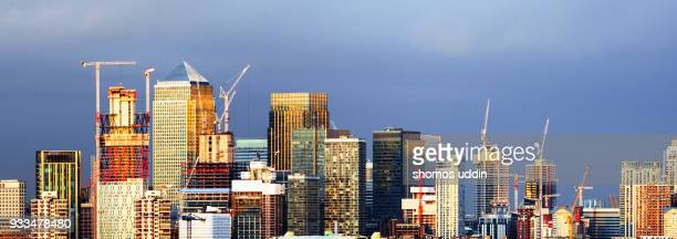 Canary Wharf and the city skyline of East London at sunset