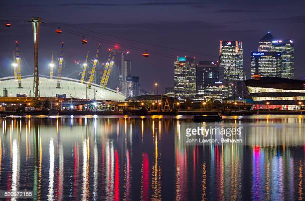 Canary Wharf and the O2 at night, London