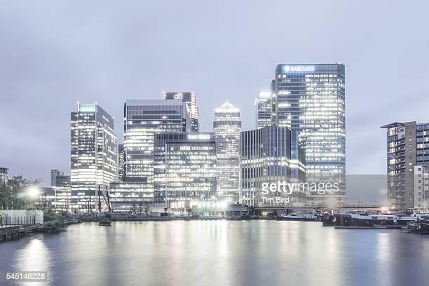 Canary Wharf at night. London England