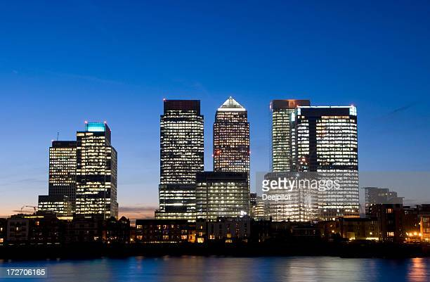 Canary Wharf City Skyline at Night in London UK