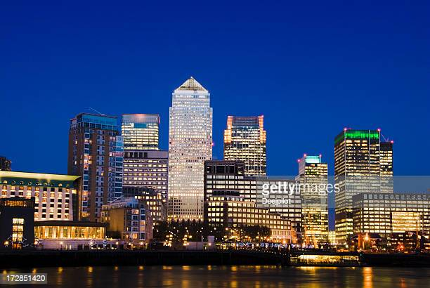 Canary Wharf City Skyline at Night in London UK