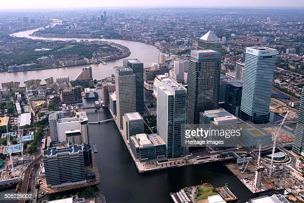 Canary Wharf Docklands London 2006 The towers of the redeveloped West India Docks with the River Thames beyond Artist Historic England Staff...