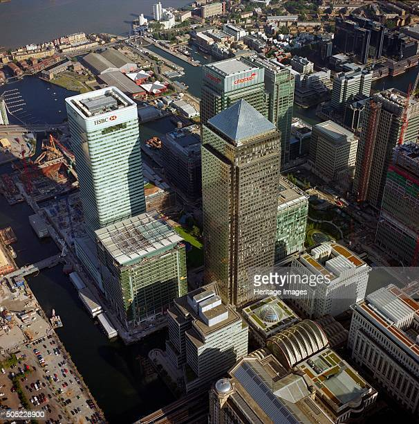 Canary Wharf Docklands Poplar London c2000s The towers of the redeveloped West India Docks Artist Historic England Staff Photographer