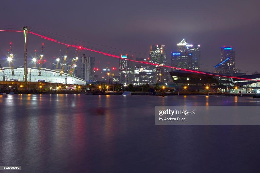 Canary Wharf from Victoria Docks, London, United Kingdom : Stock Photo
